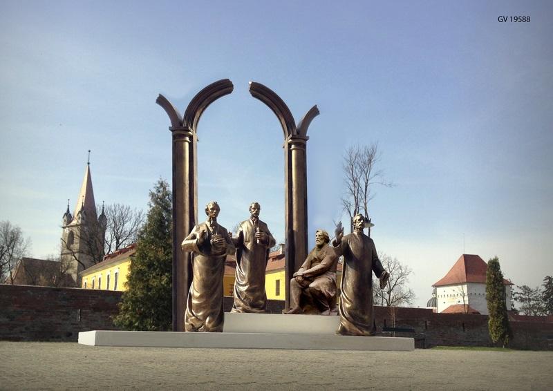 """Vizualizati imaginile din articolul: Az Erdélyi iskola (Școala Ardeleană) szoborcsoportja """"őrzi' majd a Marosvásárhelyi Várat!"""
